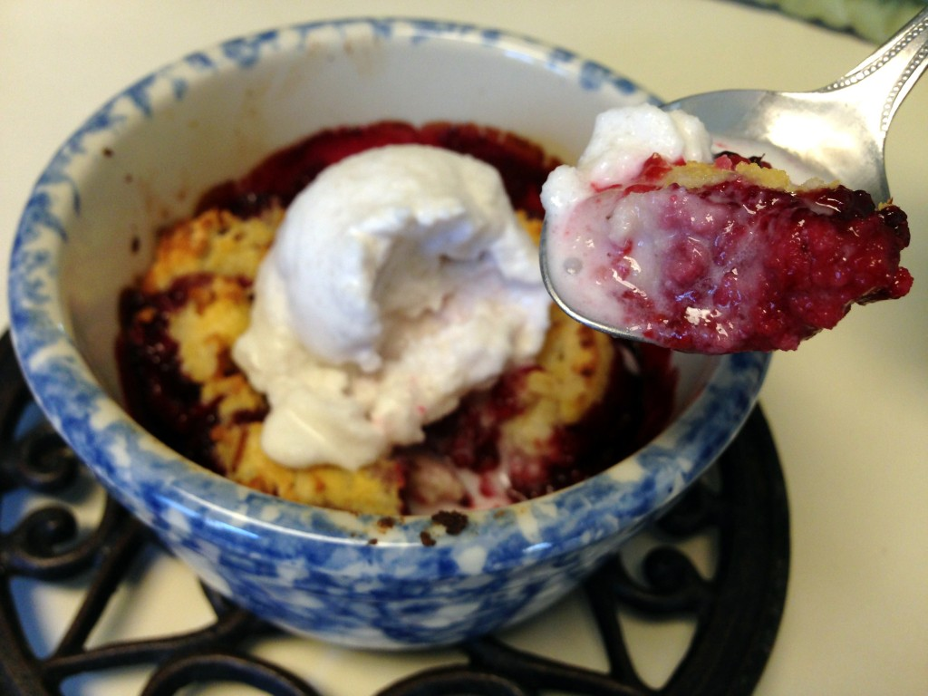 Mini Raspberry Cobbler with Coconut Milk Ice Cream