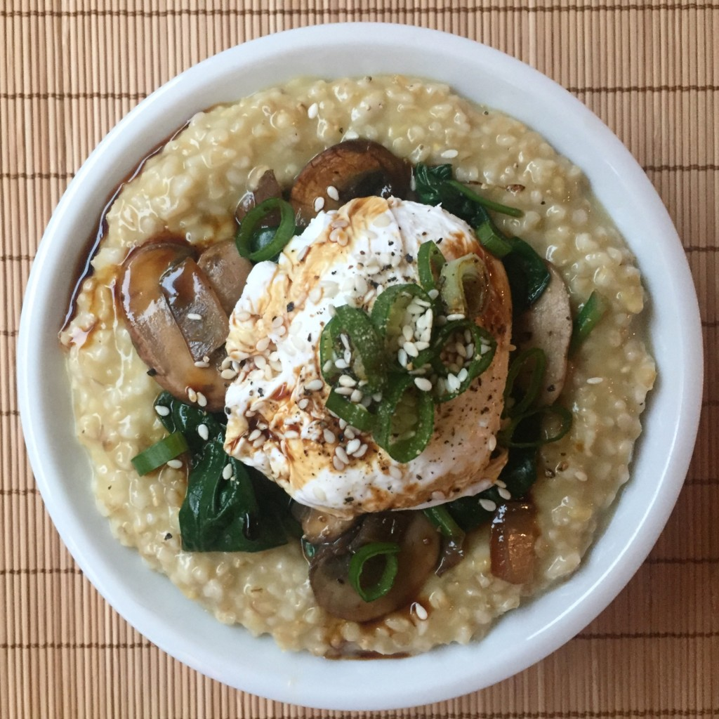 Savory Oatmeal with Poached Egg | guesswhoscooking.com | Healthy, vegetarian, dairy-free, and can be made vegan or gluten-free