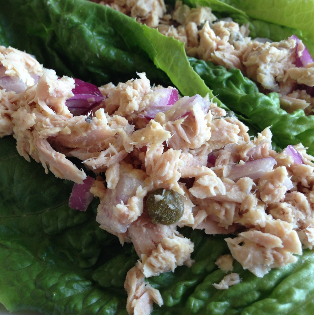 Easy tuna lettuce wraps without mayo guess who 39 s cooking for Tuna fish salad recipe with egg