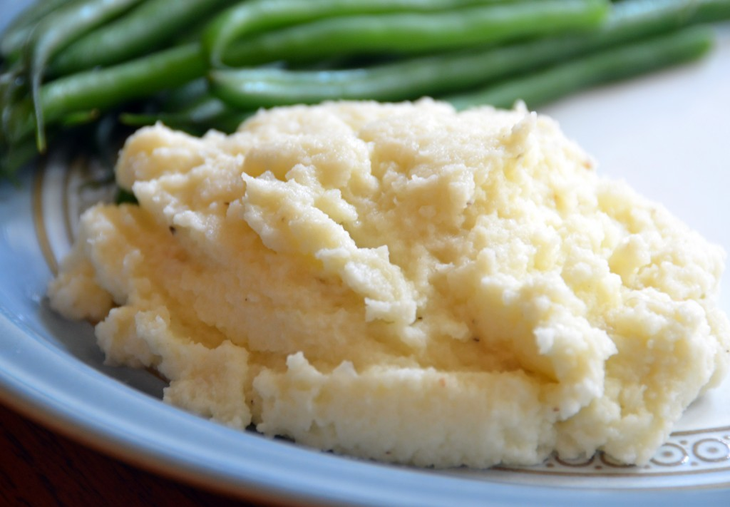 Cauliflower Mash - Lower-carb, dairy-free, gluten-free, low glycemic, vegan, & vegetarian. Follow GuessWhosCooking.com - @guesswhoscookin on Twitter, Pinterest.com/guesswhoscookin, & Facebook.com/guesswhoscooking