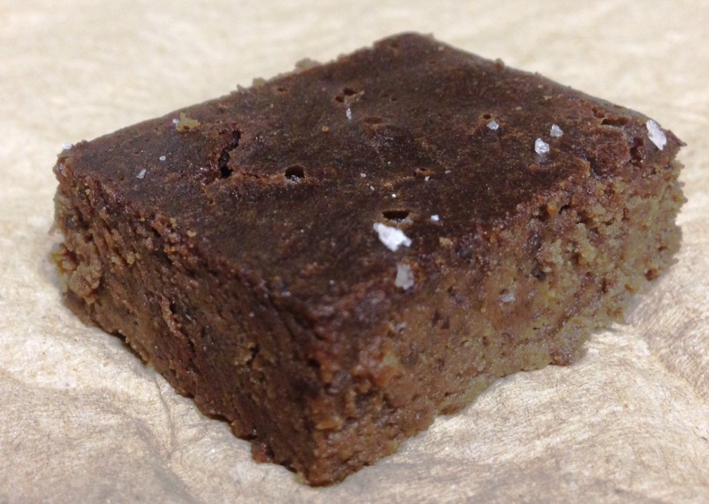 Fudgy Flour-less Brownie Recipe - grain free, gluten free, dairy free, and good source of protein and fiber. Follow GuessWhosCooking.com on Twitter @guesswhoscookin & Pinterest.com/guesswhoscookin