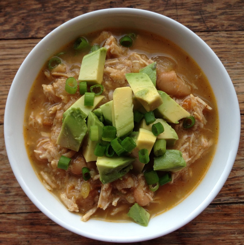 White Chicken Chili - Dairy-free, low-carb. guesswhoscooking.com