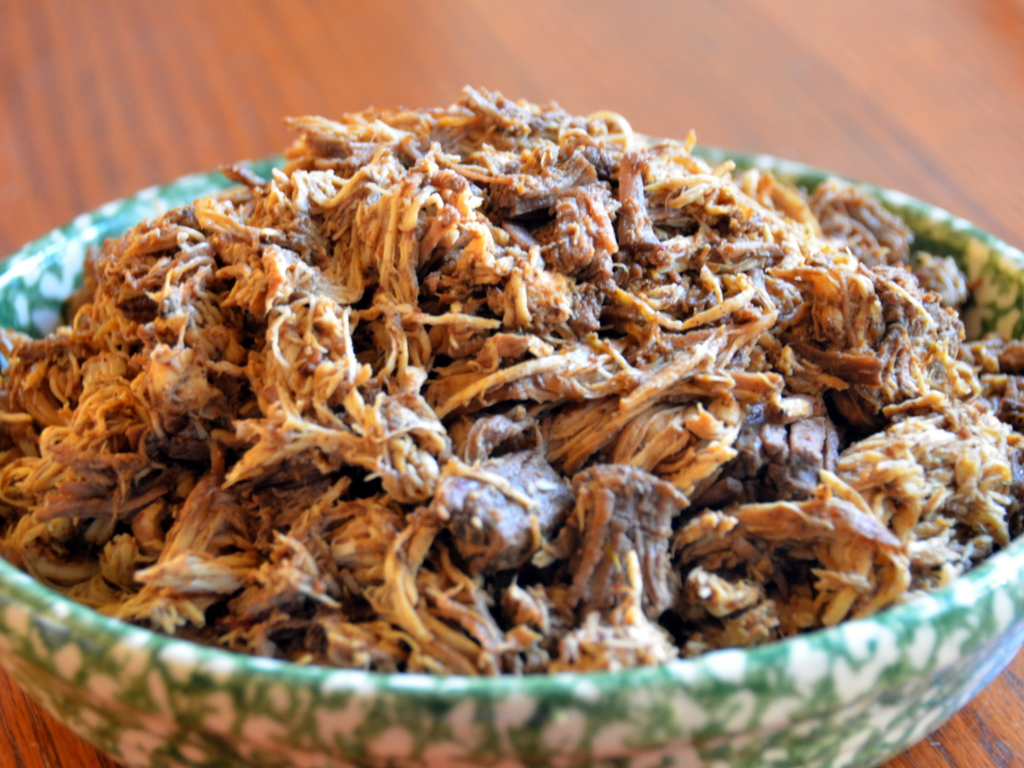 Copycat Chipotle Barbacoa - slow cooker lean beef and chicken - guesswhoscooking.com