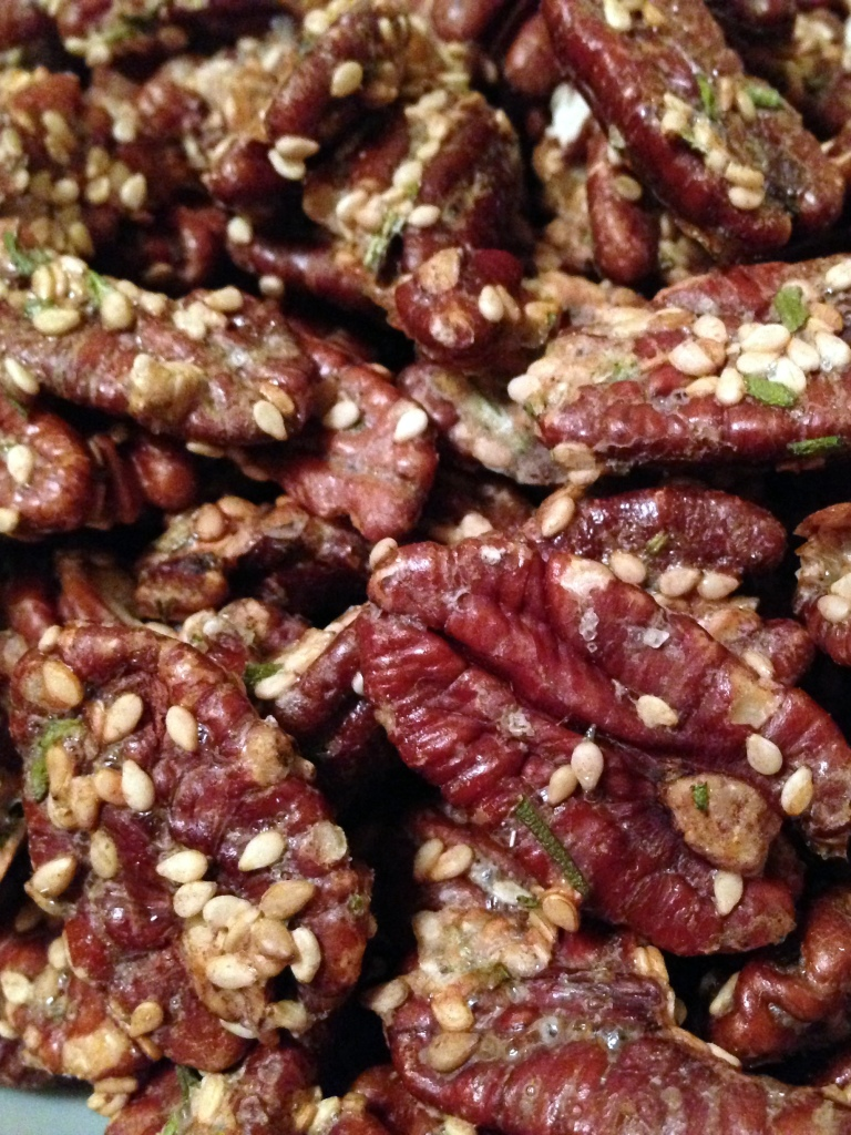 Rosemary Sesame Pecans = Healthy homemade Christmas or holiday gift - low carb, dairy free, gluten free, sugar free. Guesswhoscooking.com