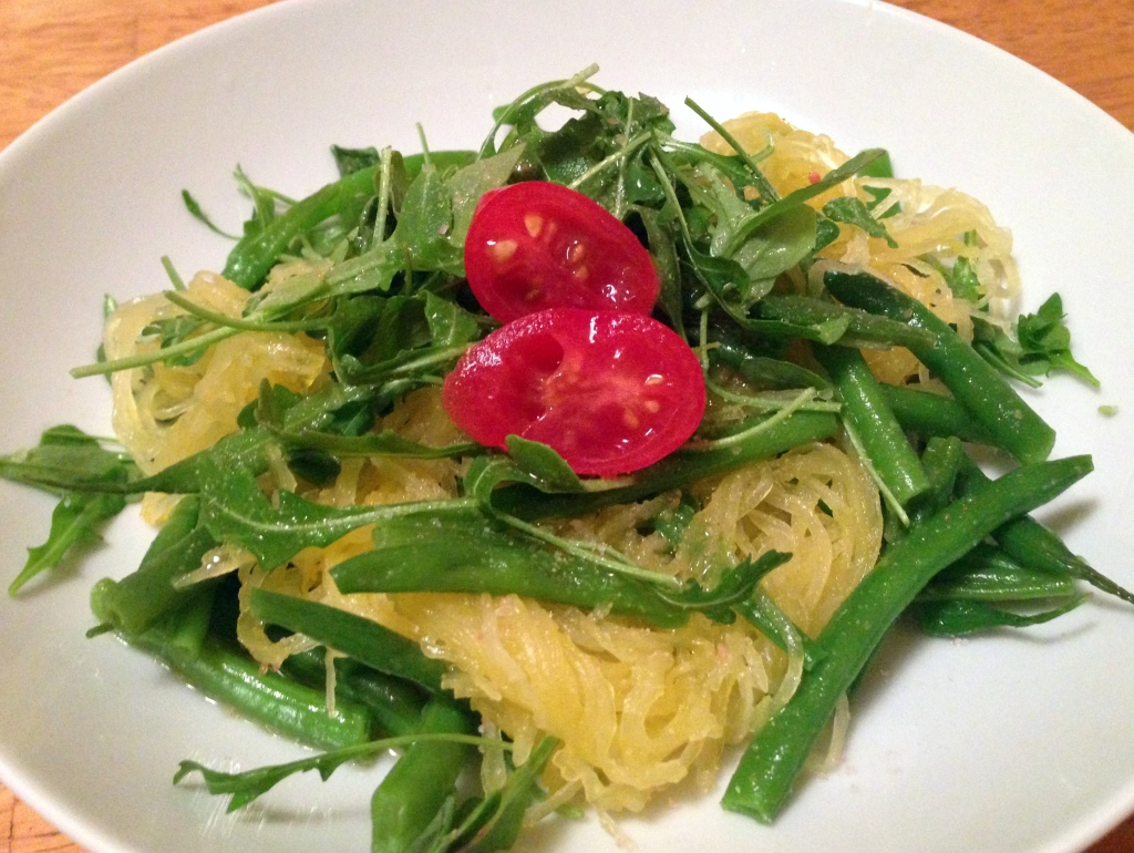 Spaghetti Squash with Truffle Oil. Guess Who's Cooking. Low carb, vegan, gluten free, dairy free, soy free.