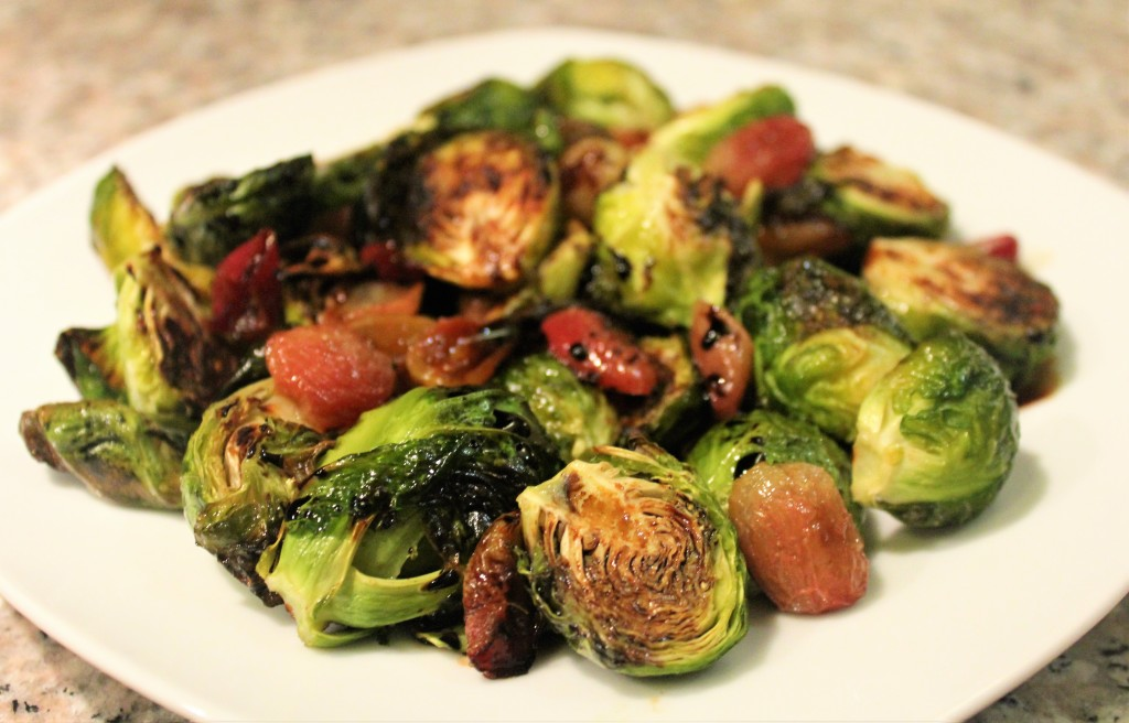 Crispy Brussels Sprouts with Grapes and Balsamic Reduction | Guess Who's Cooking | Healthy, plant based, vegan, vegetarian, no sugar added, dairy free, gluten free, soy free, egg free, nut free
