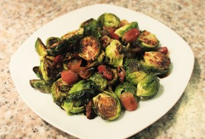 Crispy Brussels Sprouts with Grapes and Balsamic Reduction