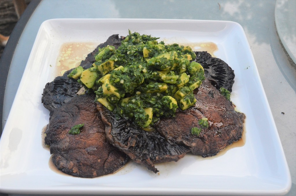 Portabello Steaks with Avocado Chimichurri | Healthy, easy, no added sugar, vegan, vegetarian, plant-based, gluten-free, dairy-free | Guess Who's Cooking